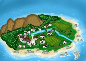 cartoon of Ballyyahoo village illustrating a page with funny stories for kids