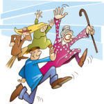 cartoon funny people running from When Things Go Wonky by Grace Jolliffe - stories for kids