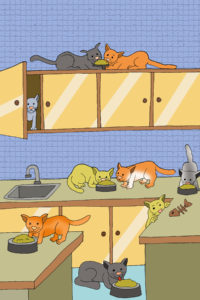 cartoon of a kitchen with lots of cats illustrating a page with funny stories for kids