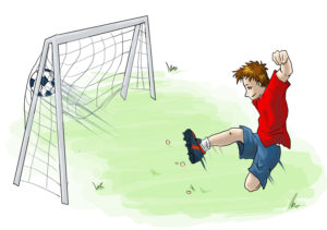 cartoon of a boy scoring a goal - illustrating a page about children's football stories - Football Mad